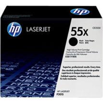 HP CE255X (No.55X) BK fekete (BK-Black) nagy kapacitású eredeti (gyári, új) toner