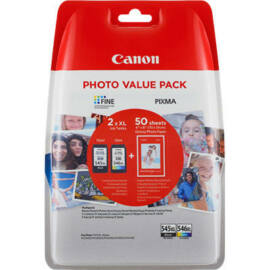Canon PG-545 XL + CL-546 XL fekete és színes (BK-Color) eredeti (gyári, új) nagy kapacitású multipack + 50 db A6/210 fényes fotópapír