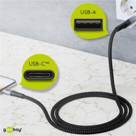 Goobay USB Type-C - USB flexibilis textil adat- és töltő kábel, 2m, asztroszürke-ezüst