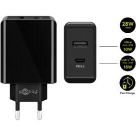Goobay hálózati gyorstöltő 28W USB-A/USB-C, fekete