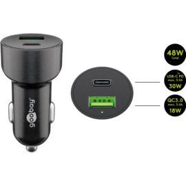 Goobay autós gyorstöltő 48W USB-A/USB-C, fekete