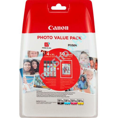 Canon CLI-581 XL eredeti (gyári, új) nagy kapacitású multipack + 50 db A6/210 fényes fotópapír
