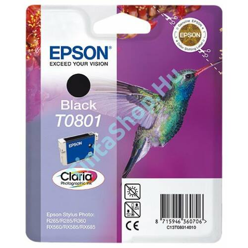 Epson T0801 BK fekete (BK-Black) eredeti (gyári, új) tintapatron
