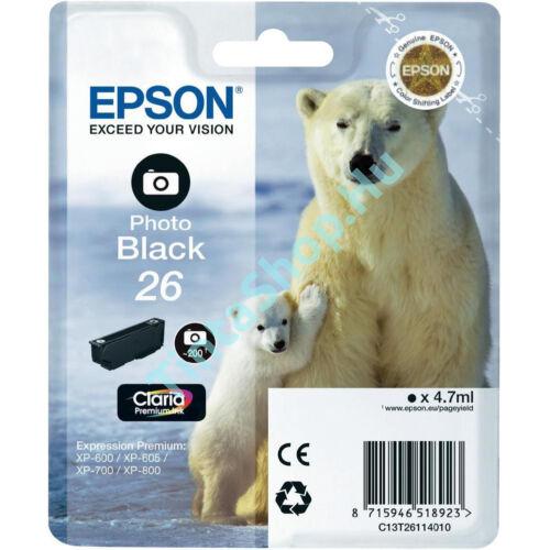 Epson T2611 (No.26) PBK fotó fekete (PBK-Photo Black) eredeti (gyári, új) tintapatron