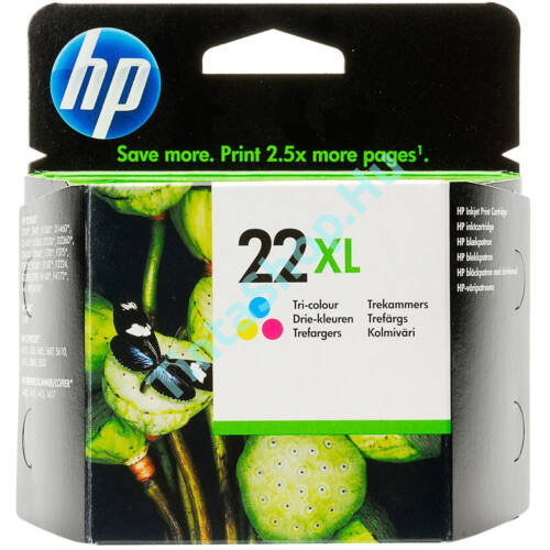 HP C9352CE (No.22XL) színes (C-Color) nagy kapacitású eredeti (gyári, új) tintapatron