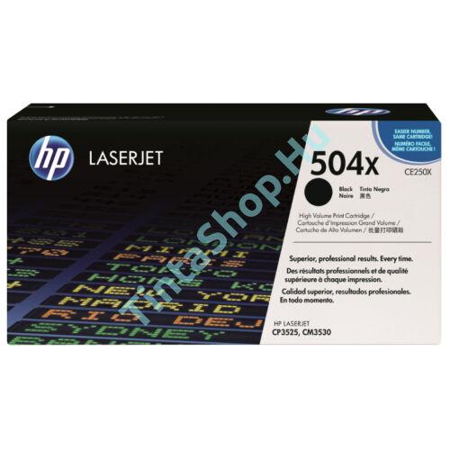 HP CE250X (No.504X) BK fekete (BK-Black) nagy kapacitású eredeti (gyári, új) toner