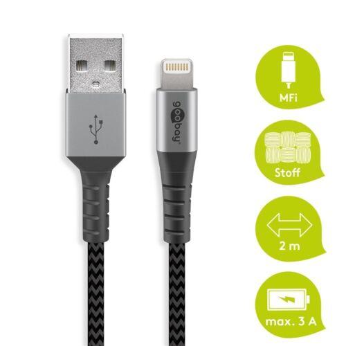 Goobay USB - Lightning flexibilis textil adat- és töltő kábel, 2m, asztroszürke-ezüst