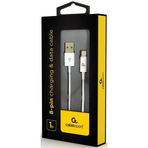 Kábel Usb 2.0 - Lightning 8-pin adat- és töltőkábel, 1m fehér (CCP-USB2P-AMLM-1M-W)