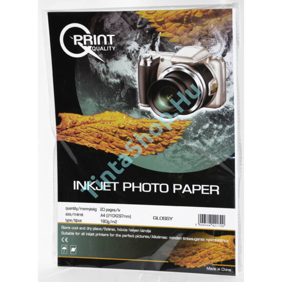 Q-Print A4/180 gr fényes fotópapír (20 ív / csomag)