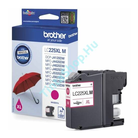 Brother LC225 XL MG bíbor (piros) (MG-Magenta) nagy kapacitású eredeti (gyári, új) tintapatron