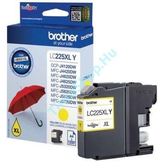 Brother LC225 XL YL sárga (YL-Yellow) nagy kapacitású eredeti (gyári, új) tintapatron