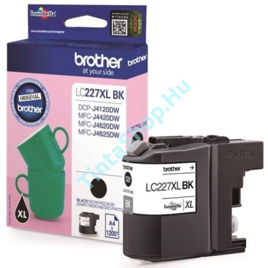 Brother LC227 XL BK fekete (BK-Black) nagy kapacitású eredeti (gyári, új) tintapatron