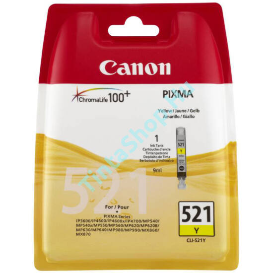 Canon CLI-521 YL  sárga (YL-Yellow) eredeti (gyári, új) tintapatron
