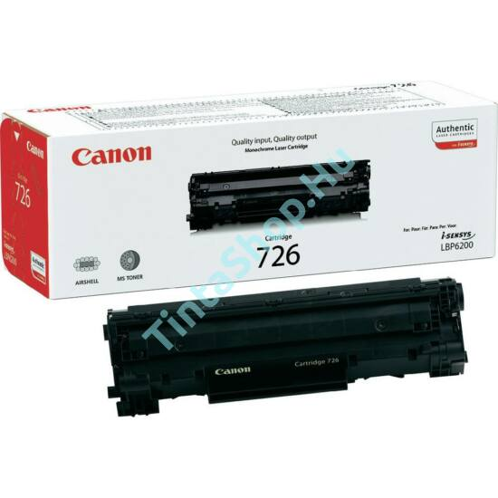 Canon CRG-726 BK fekete (BK-Black) eredeti (gyári, új) toner