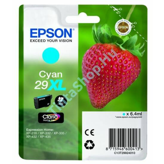 Epson T2992 (No.29 XL) CY cián (kék) (CY-Cyan) nagy kapacitású eredeti (gyári, új) tintapatron