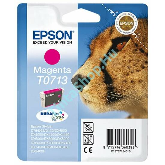 Epson T0713 MG bíbor (piros) (MG-Magenta) eredeti (gyári, új) tintapatron