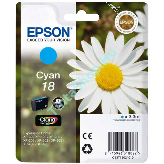 Epson T1802 (No.18) CY cián (kék) (CY-Cyan) eredeti (gyári, új) tintapatron