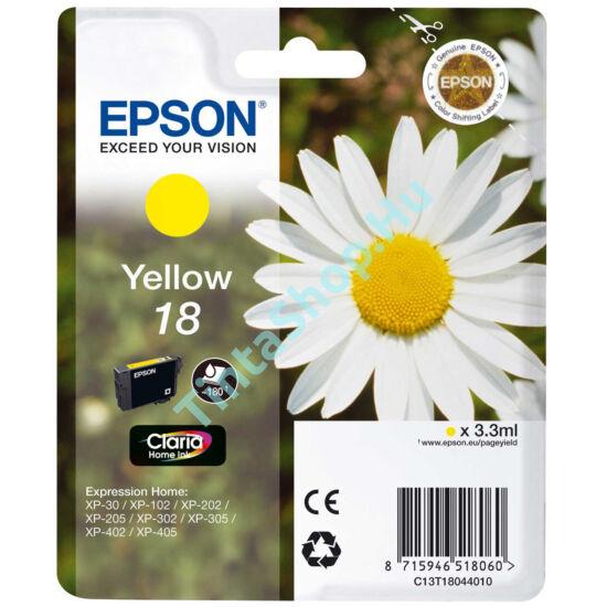 Epson T1804 (No.18) YL sárga (YL-Yellow) eredeti (gyári, új) tintapatron