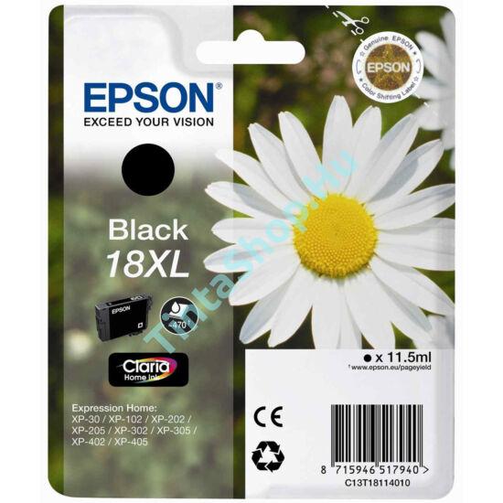 Epson T1811 (No.18 XL) BK fekete (BK-Black) nagy kapacitású eredeti (gyári, új) tintapatron
