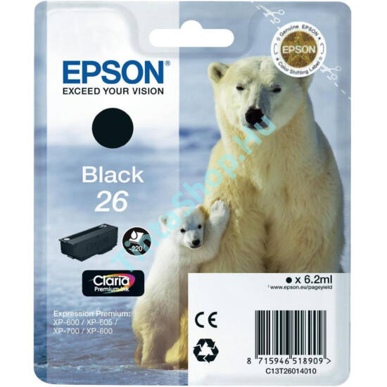 Epson T2601 (No.26) BK fekete (BK-Black) eredeti (gyári, új) tintapatron