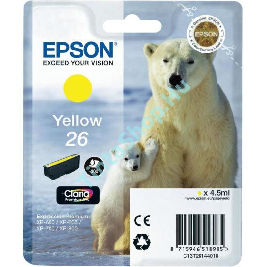 Epson T2614 (No.26) YL sárga (YL-Yellow) eredeti (gyári, új) tintapatron