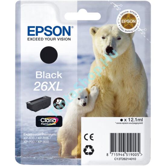 Epson T2621 (No.26 XL) BK fekete (BK-Black) nagy kapacitású eredeti (gyári, új) tintapatron