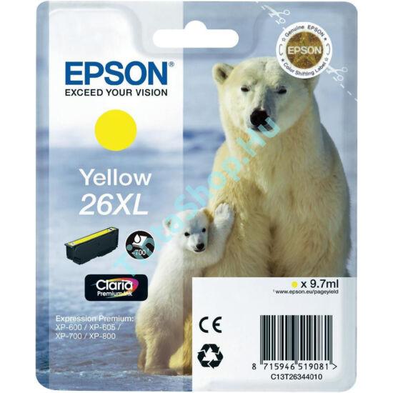 Epson T2634 (No.26 XL) YL sárga (YL-Yellow) nagy kapacitású eredeti (gyári, új) tintapatron