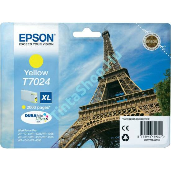 Epson T7024 YL XL sárga (YL-Yellow) nagy kapacitású eredeti (gyári, új) tintapatron